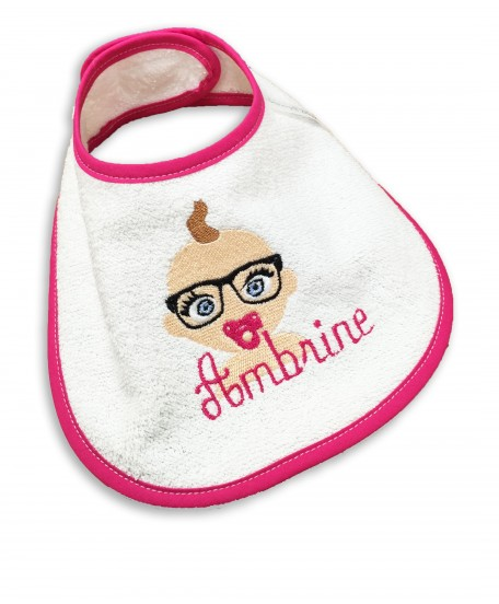 """Bavoir """"bébé lunettes"""" fuchsia"""
