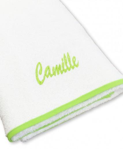 Serviette de bain blanc/vert