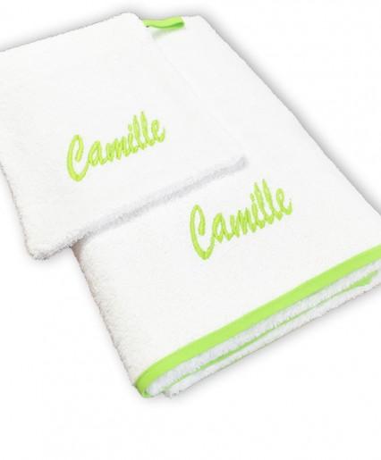 Serviette de bain + gant blanc/vert