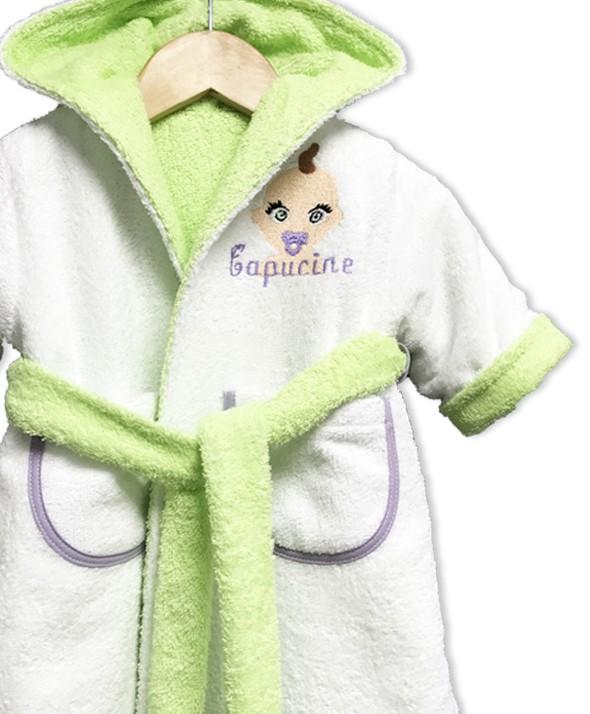 "Peignoir réversible vert anis ""bébé"""