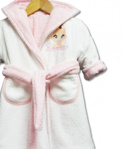 """Peignoir réversible """"bébé"""" rose pâle"""