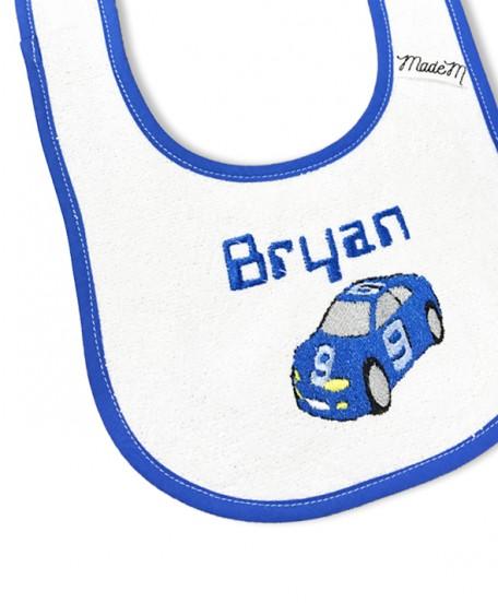 """Bavoir """"voiture"""" bleu"""